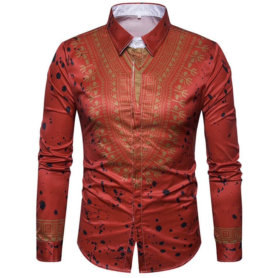 Men's African Traditional Shirt with Pattern